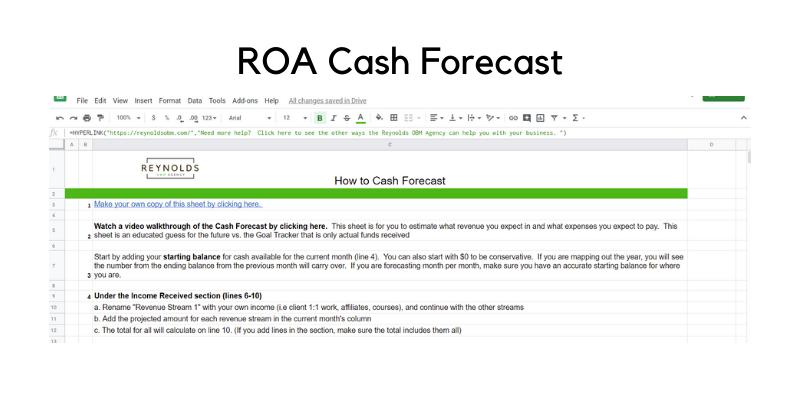 ROA Cash Forecast